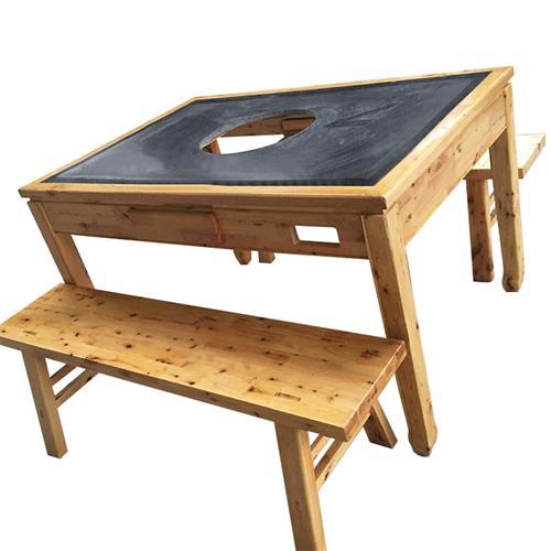 实木边框镶嵌大理石带抽屉火锅桌 厂家直销