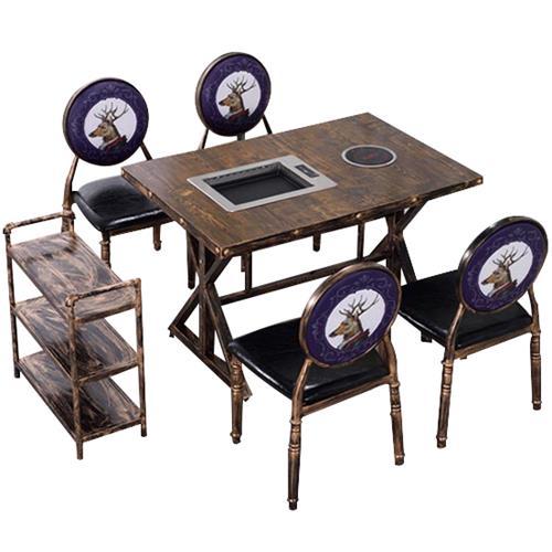 实木复古工业风自助烤涮火锅一体桌