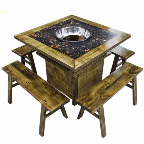 实木边框镶嵌大理石柜式火锅桌椅