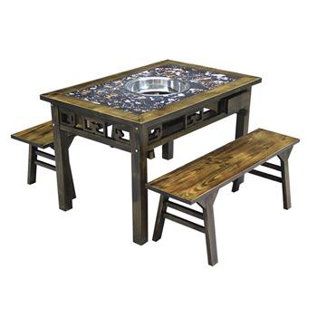 仿古雕花实木大理石火锅桌椅组合-火锅店家具定做厂家