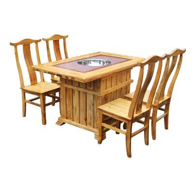 实木复古大理石煤气灶电磁炉火锅桌椅