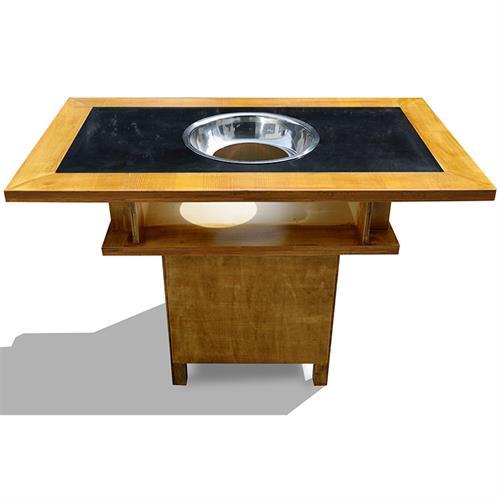 大龙焱复古做旧实木雕刻电磁炉下沉式火锅桌椅