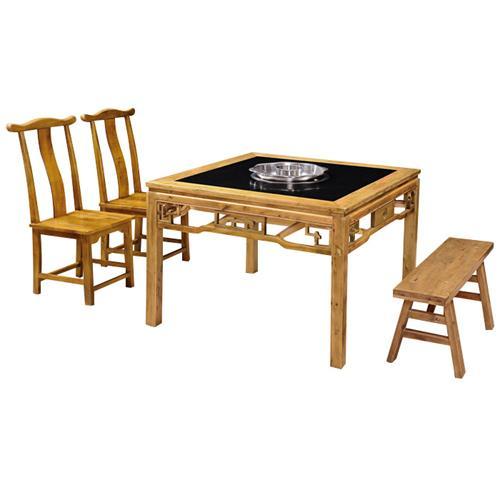 仿古雕花煤气燃气灶八仙桌_老重庆电磁炉实木火锅桌椅