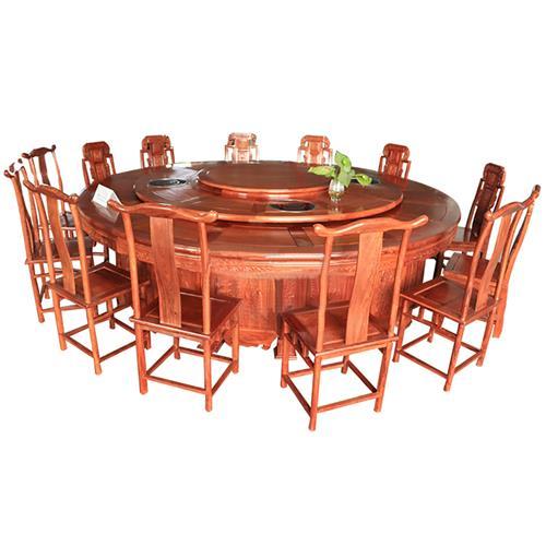 高端圆形带转盘火锅桌_白鸟雕花每人每锅电动火锅餐桌
