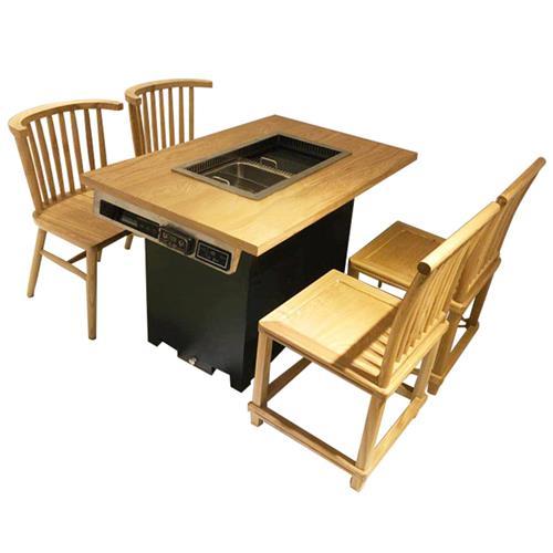 烤涮一体自助无烟纸上烤肉桌_实木电磁炉无烟净化火锅烧烤桌