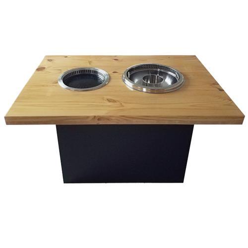 韩式自助实木无烟烧烤火锅一体桌