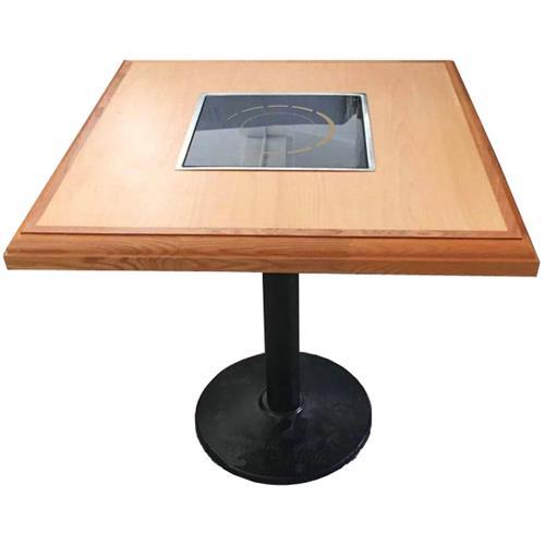 简约时尚铁艺桌脚实木台面电磁炉火锅桌