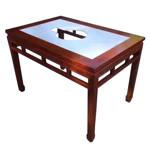 串串香火锅店大理石仿古实木火锅桌电磁炉燃气灶餐桌