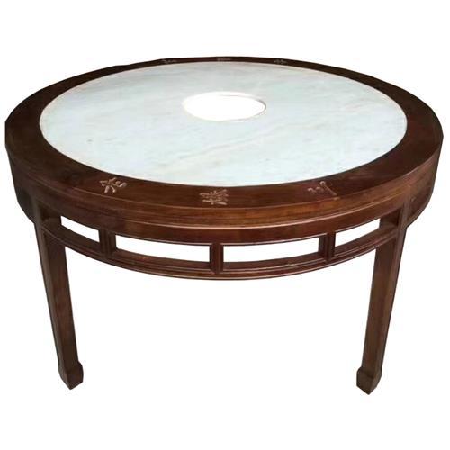 圆形大理石火锅桌仿古实木煤气灶电磁炉火锅桌