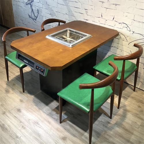 自助火锅酒店无烟净化设备餐桌子复古实木电磁炉无烟火锅桌