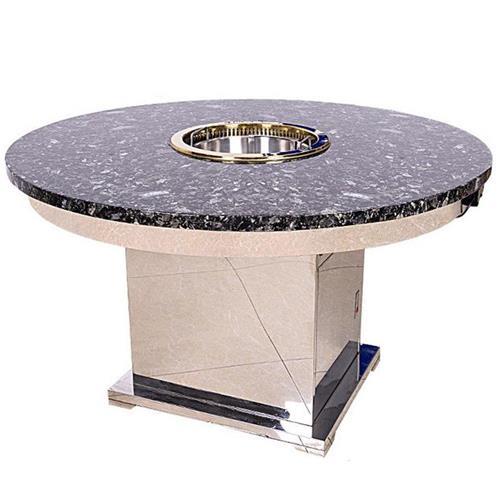 不锈钢大理石台面自带无烟净化时尚八人火锅餐桌