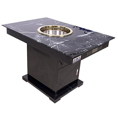 4人时尚无烟火锅餐桌_不锈钢下排风无烟电磁火锅桌