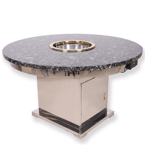 不锈钢大理石6人圆形升降无烟火锅桌