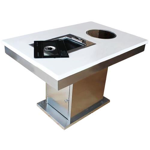 韩式无烟大理石带电磁炉火锅烧烤一体桌