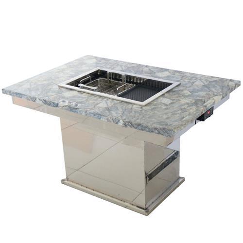 不锈钢火锅桌_大理石台面无烟升降火锅烧烤一体桌