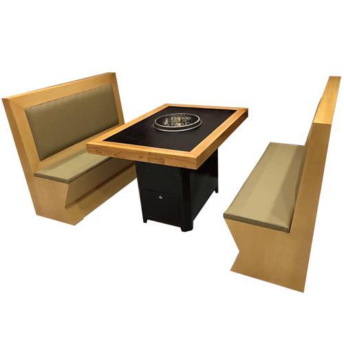 实木边框镶嵌火烧石桌面升降无烟火锅桌