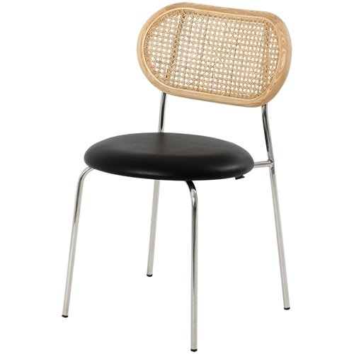 西餐厅现代简约藤条不锈钢靠背椅