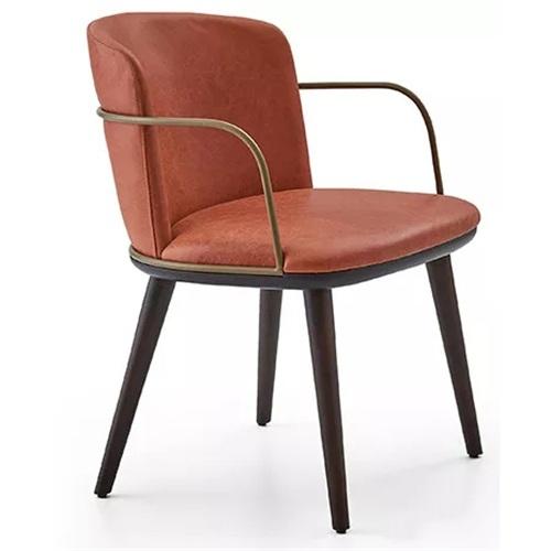 美式简约现代软包西餐厅金属椅子