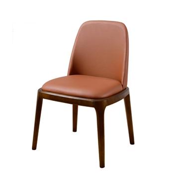 北欧牛皮坐垫实木西餐椅-厂家直销