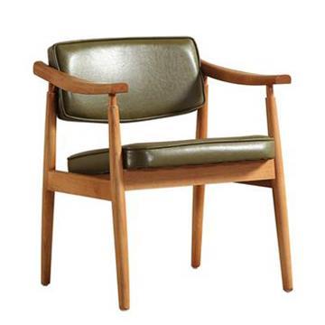 实木扶手椅单人休闲靠背西餐椅
