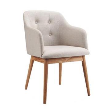 北欧简约实木单人餐椅 布艺沙发西餐椅子