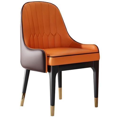 现代轻奢餐椅北欧实木皮椅子西餐厅休闲创意洽谈椅