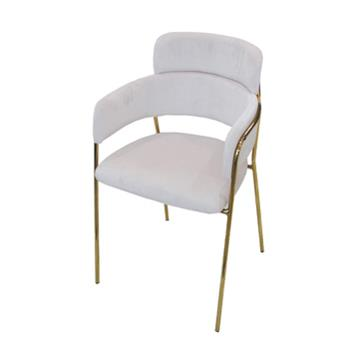 北欧轻奢风铁艺西餐厅椅子_现代简约不锈钢电镀餐椅