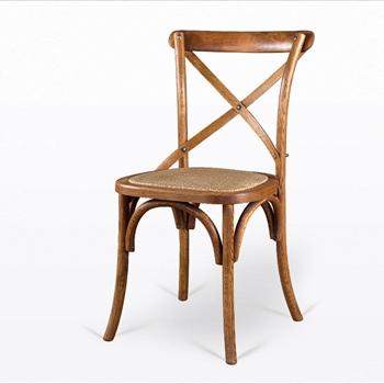 实木复古访旧真藤坐板西餐椅-厂家定做批发
