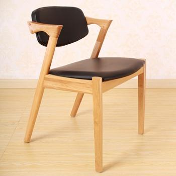 北欧现代橡木白蜡木实木软包西餐椅-西餐厅桌椅厂家定做