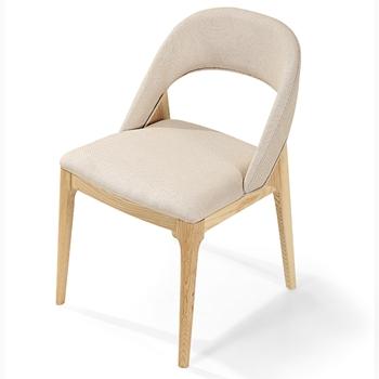 U型靠背麻布艺软包实木西餐椅-西餐厅餐椅厂家定制