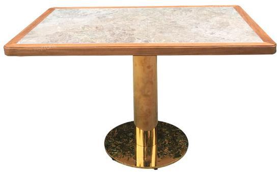 不锈钢桌脚实木包边大理石北欧高档西餐厅桌椅