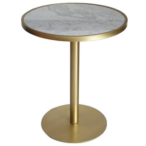 时尚西餐厅桌椅-奶茶店大理石不锈钢餐桌