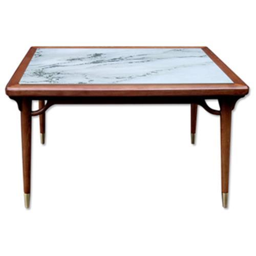 西餐厅简约复古实木镶嵌大理石餐桌椅