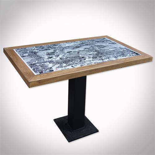 西餐厅咖啡厅实木包边瓷砖桌