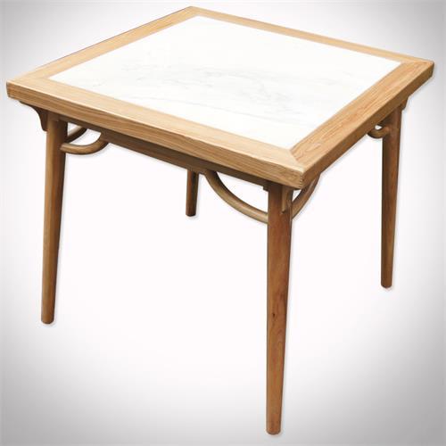 西餐厅定制特色古风家具实木大理石四方桌