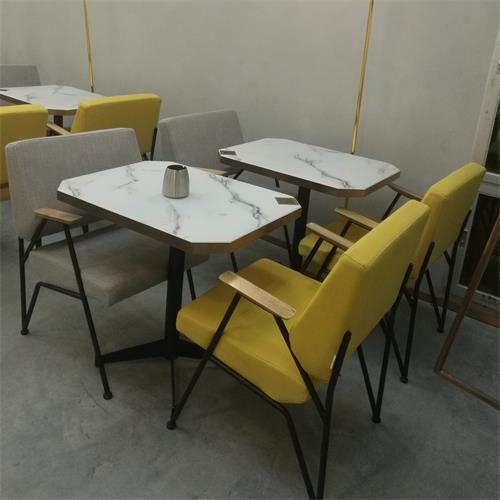 休闲时尚大理石台面西式餐饮桌椅定制