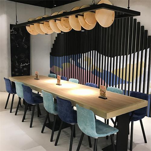 多人位肯德基麦当劳快餐厅实木桌椅