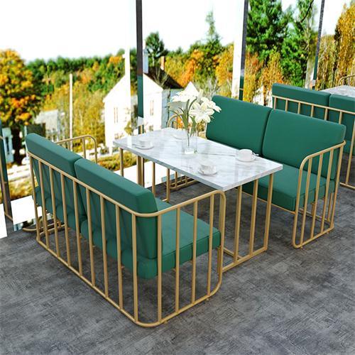 现代金属脚简约大理石西餐桌