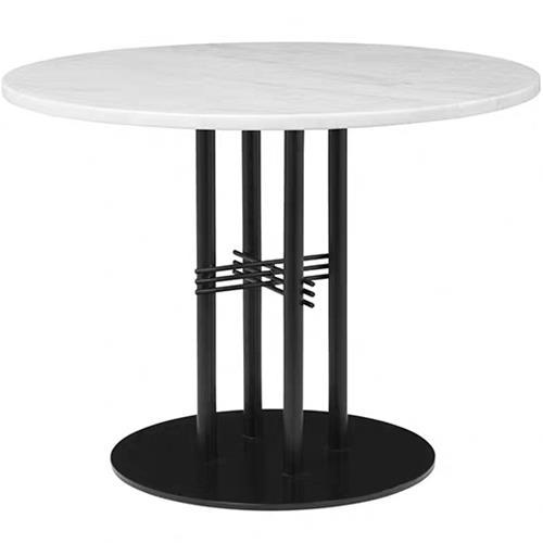 休闲西餐厅时尚铁艺大理石圆桌子