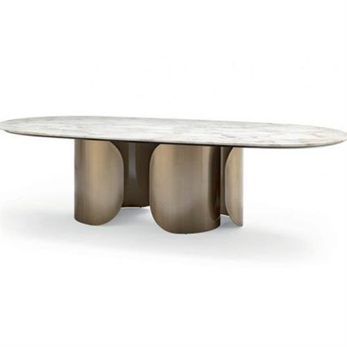 北欧简约不锈钢椭圆形西餐厅餐桌