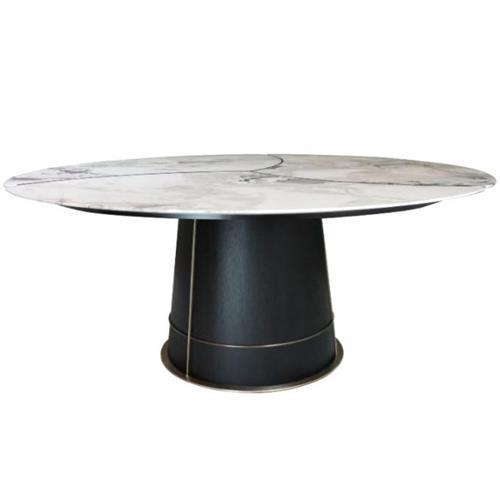 高档西餐厅咖啡厅现代大理石圆餐桌