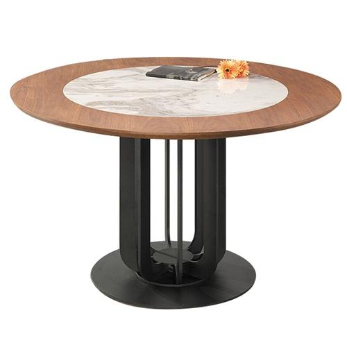 现代金属脚简约实木大理石西餐桌