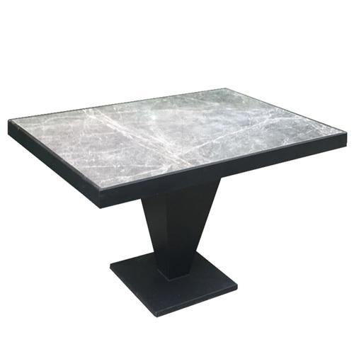 轻奢不锈钢包边大理石西餐桌家具