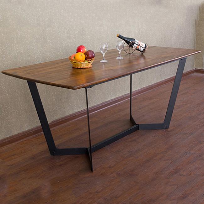 美式乡村工业风复古实木餐厅桌椅_铁艺桌脚西餐厅餐桌