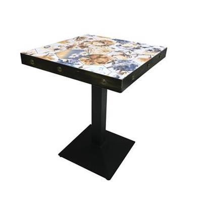 复古铁艺桌脚实木西餐桌
