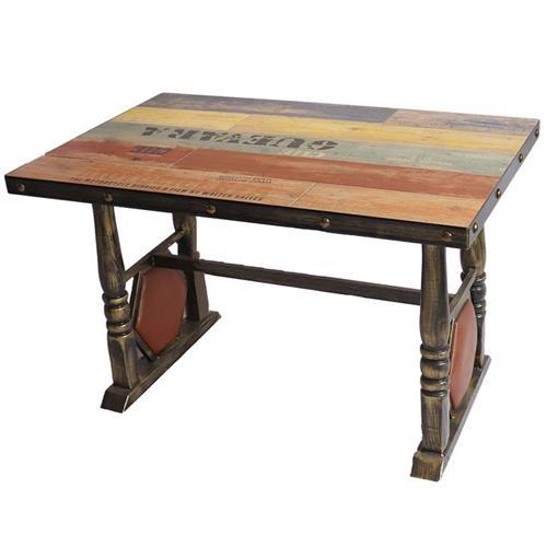 实木餐桌面铁艺复古西餐桌_铜钉贴片围边餐桌_五金铁管餐脚