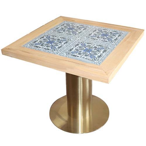黄铜色不锈钢圆形底座_东南亚风餐桌_西餐厅方形餐桌