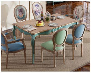美式乡村实木餐桌椅组合欧式复古长方形西餐桌-厂家定制