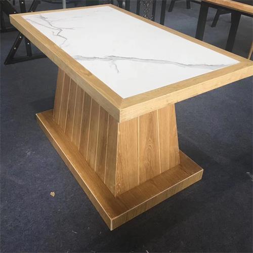 宴会会所实木边框镶嵌大理石台面餐桌