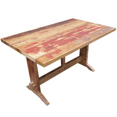 中餐厅酒楼全实木餐桌复古作旧饭店长方桌